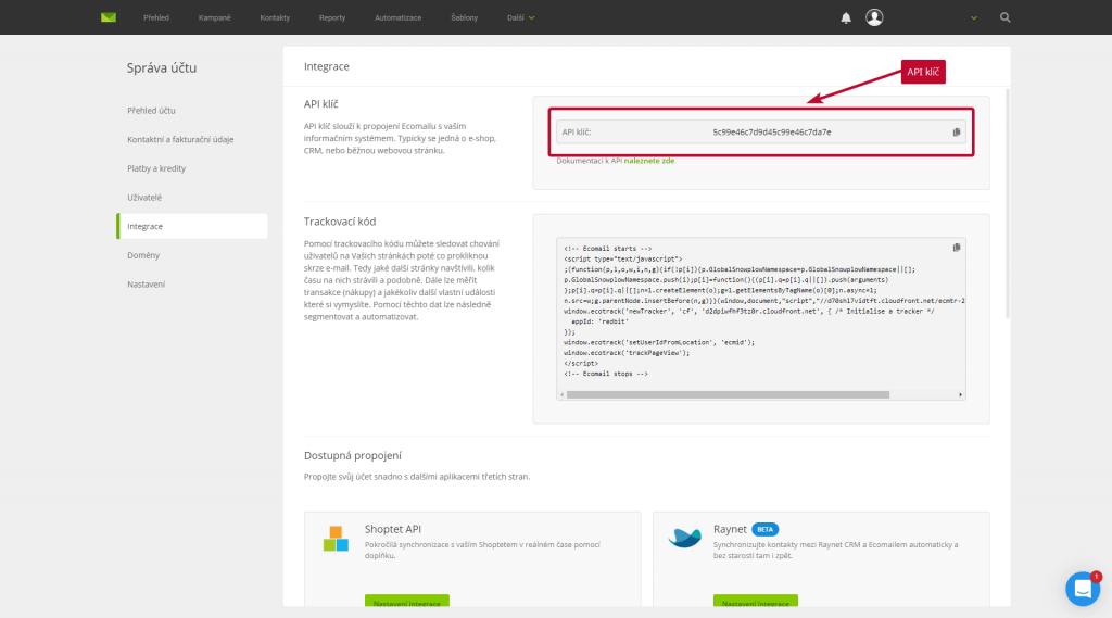 Ecomail API klíč