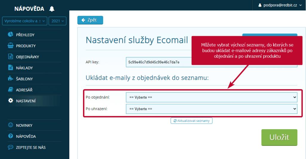 Ecomail seznamy